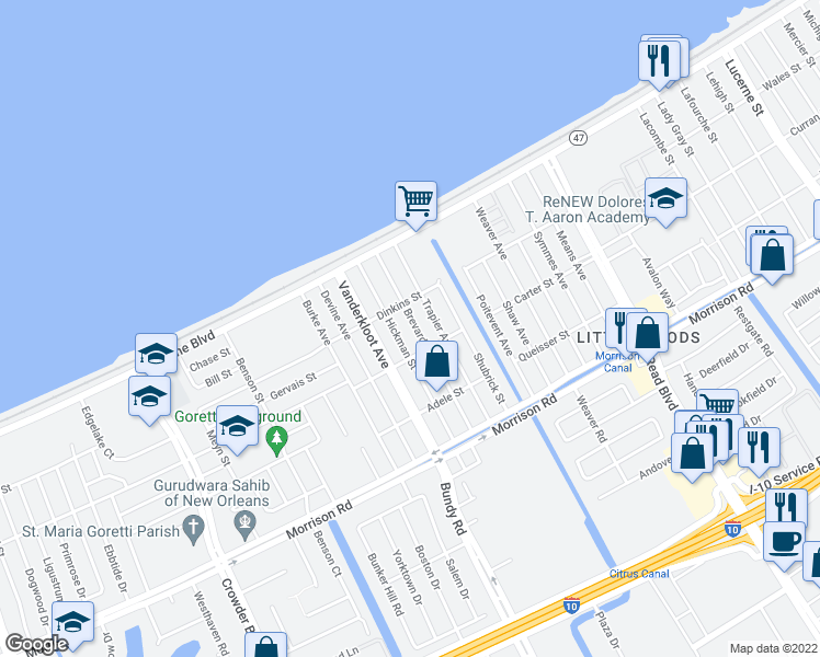 map of restaurants, bars, coffee shops, grocery stores, and more near 7738 Brevard Avenue in New Orleans