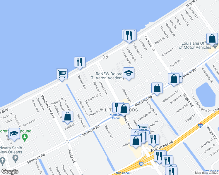 map of restaurants, bars, coffee shops, grocery stores, and more near Read Blvd & Curran Blvd in New Orleans