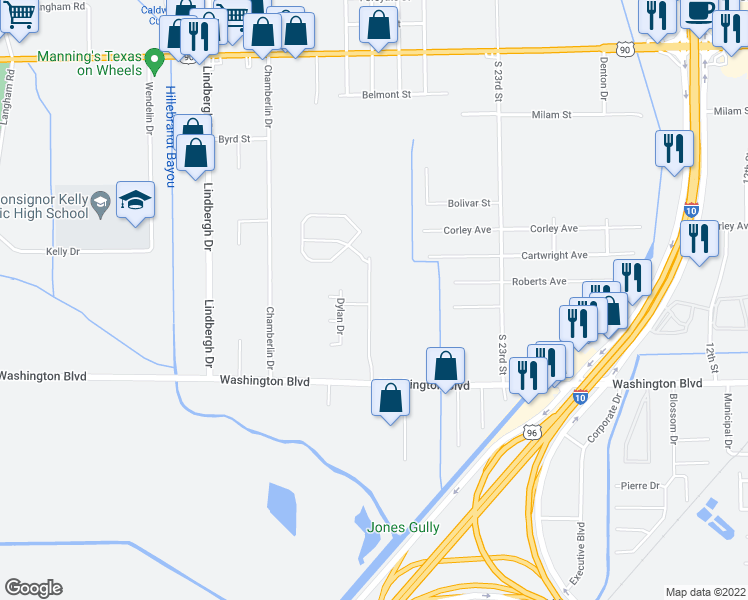 map of restaurants, bars, coffee shops, grocery stores, and more near Wolf Creek Dr in Beaumont