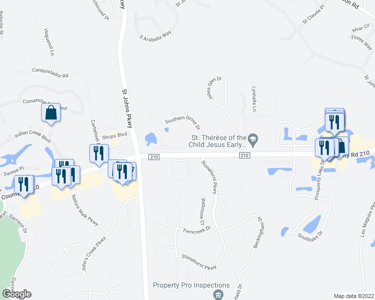 map of restaurants, bars, coffee shops, grocery stores, and more near 833 Southern Belle Drive East in Jacksonville