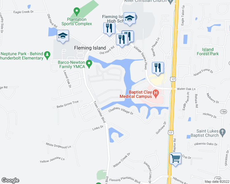 map of restaurants, bars, coffee shops, grocery stores, and more near 1637 Calming Water Drive in Orange Park