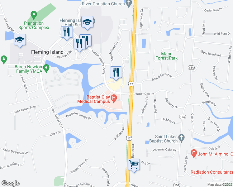 map of restaurants, bars, coffee shops, grocery stores, and more near Baptist Clay Drive in Fleming Island