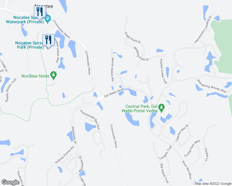 map of restaurants, bars, coffee shops, grocery stores, and more near 124 Del Webb Parkway in Ponte Vedra