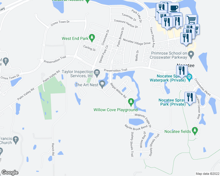 map of restaurants, bars, coffee shops, grocery stores, and more near 29 Willow Park Way in Ponte Vedra