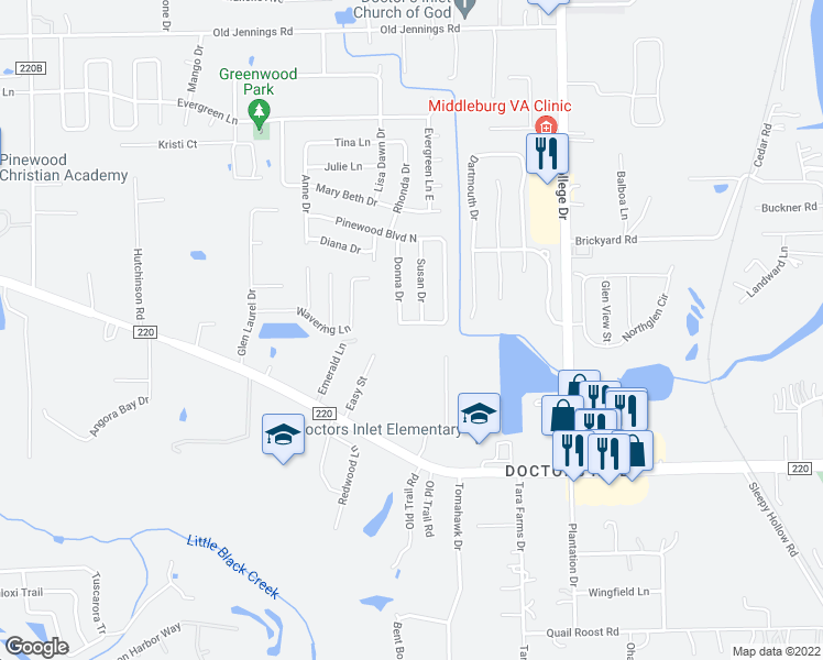 map of restaurants, bars, coffee shops, grocery stores, and more near 2622 Pinewood Boulevard in Middleburg
