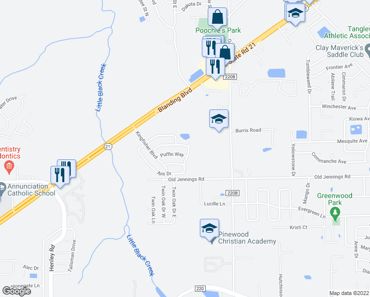 map of restaurants, bars, coffee shops, grocery stores, and more near 1533 Ibis Drive in Orange Park