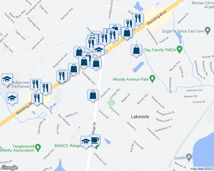 map of restaurants, bars, coffee shops, grocery stores, and more near 1001 Doshire Drive in Orange Park