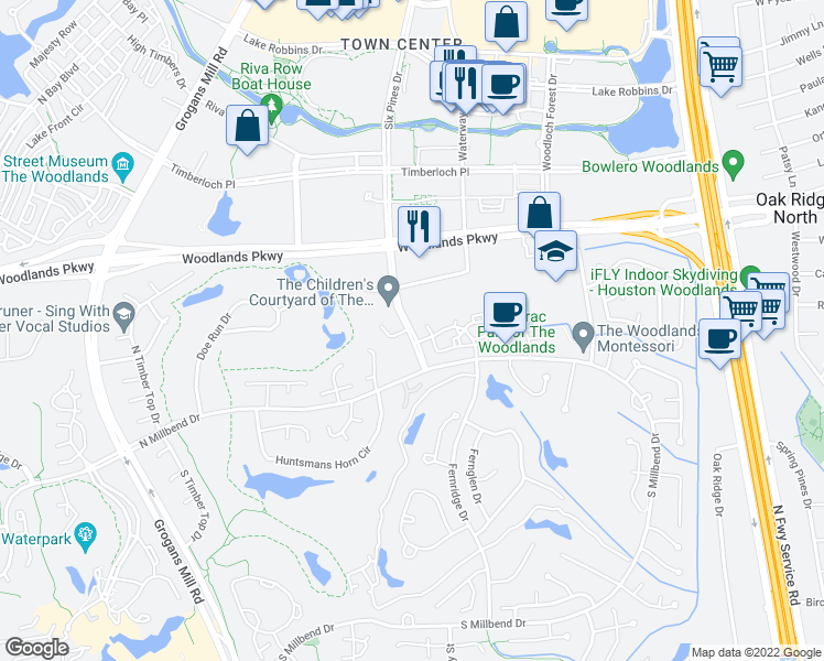 map of restaurants, bars, coffee shops, grocery stores, and more near 10655 Six Pines Drive in Spring