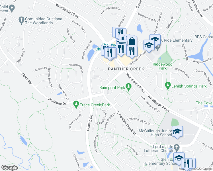 map of restaurants, bars, coffee shops, grocery stores, and more near 4545 South Panther Creek Drive in The Woodlands