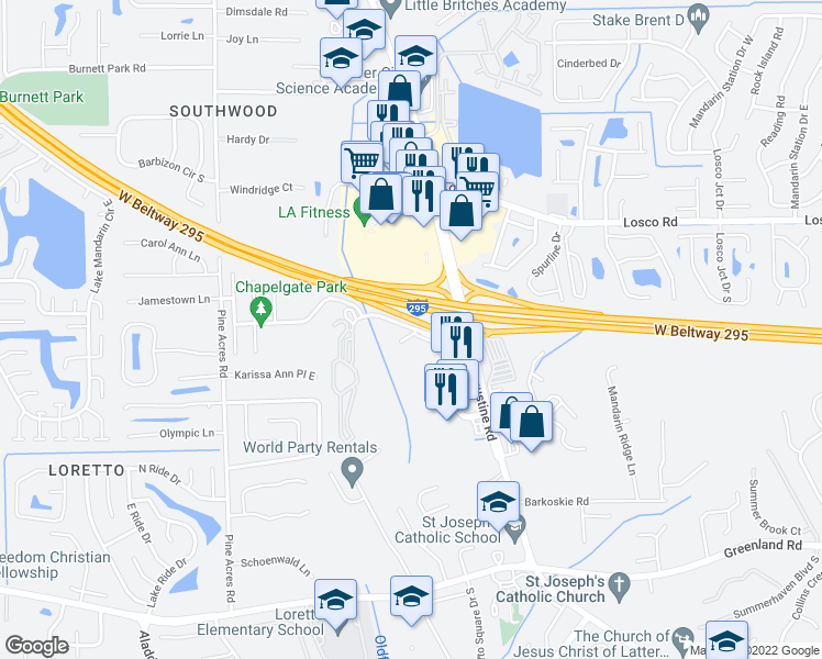 map of restaurants, bars, coffee shops, grocery stores, and more near 3901-4289 Oldfield Crossing Dr in Jacksonville