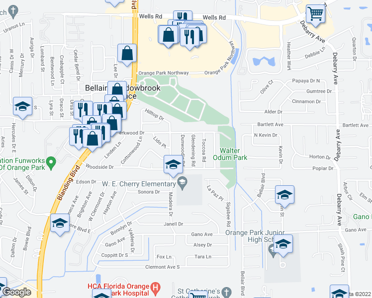 map of restaurants, bars, coffee shops, grocery stores, and more near 340 Dunwoodie Road in Orange Park