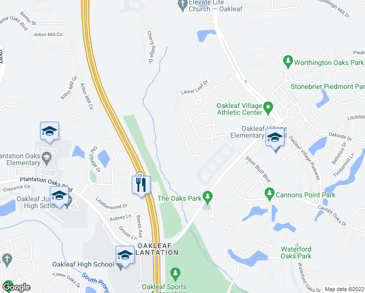 map of restaurants, bars, coffee shops, grocery stores, and more near 3522 Pebble Stone Court in Orange Park