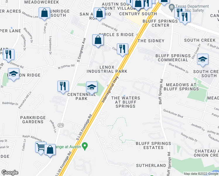 map of restaurants, bars, coffee shops, grocery stores, and more near 7700 West Parmer Lane in Austin