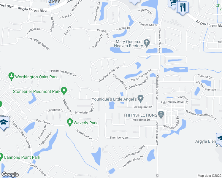 map of restaurants, bars, coffee shops, grocery stores, and more near 419-469 Federal Hill Road in Orange Park