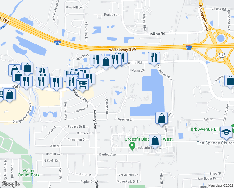 map of restaurants, bars, coffee shops, grocery stores, and more near 350 Crossing Boulevard in Orange Park