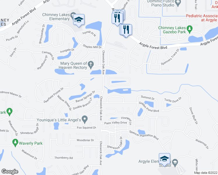 map of restaurants, bars, coffee shops, grocery stores, and more near 3067 Waters View Cir in Orange Park