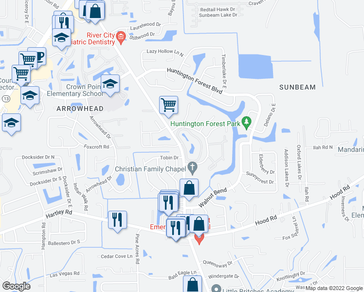 map of restaurants, bars, coffee shops, grocery stores, and more near 10275 Old St Augustine Rd in Jacksonville