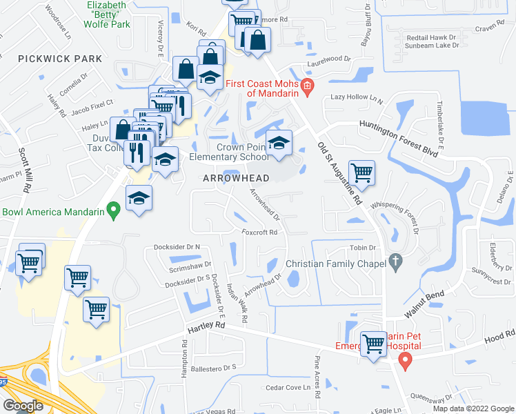 map of restaurants, bars, coffee shops, grocery stores, and more near 10241 Bear Valley Road in Jacksonville