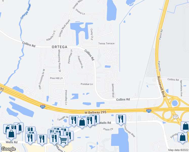 map of restaurants, bars, coffee shops, grocery stores, and more near 5050-5114 Collins Road in Jacksonville