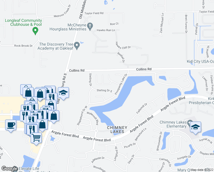 map of restaurants, bars, coffee shops, grocery stores, and more near 8333 Stelling Drive South in Jacksonville