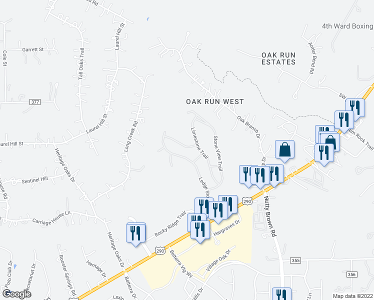 map of restaurants, bars, coffee shops, grocery stores, and more near Rock Vista Run in Austin