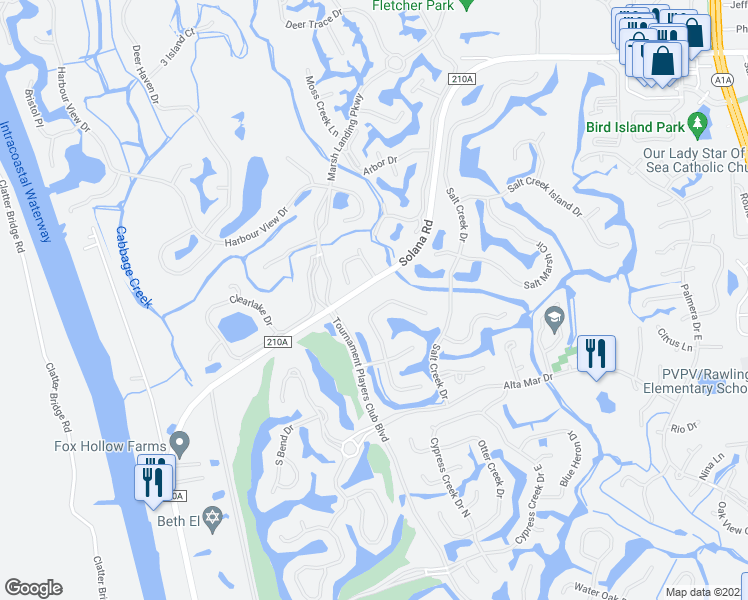 map of restaurants, bars, coffee shops, grocery stores, and more near 7009 Cypress Bridge Dr N in Palm Valley
