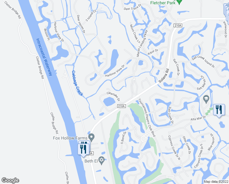 map of restaurants, bars, coffee shops, grocery stores, and more near 152 Clearlake Dr in Palm Valley