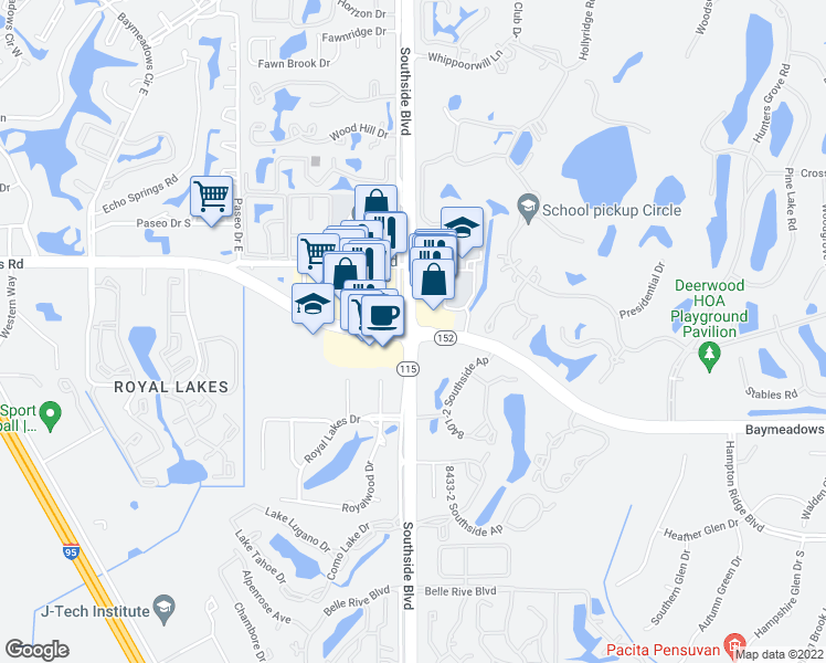 map of restaurants, bars, coffee shops, grocery stores, and more near Southside Blvd & Baymeadows Rd in Jacksonville