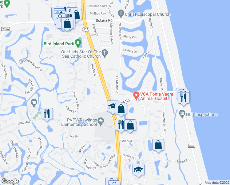 map of restaurants, bars, coffee shops, grocery stores, and more near 554 Le Master Drive in Ponte Vedra