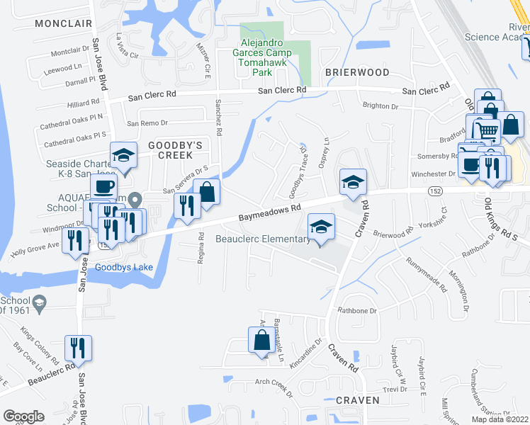 map of restaurants, bars, coffee shops, grocery stores, and more near 16 4500-5 Baymeadows Ap in Jacksonville