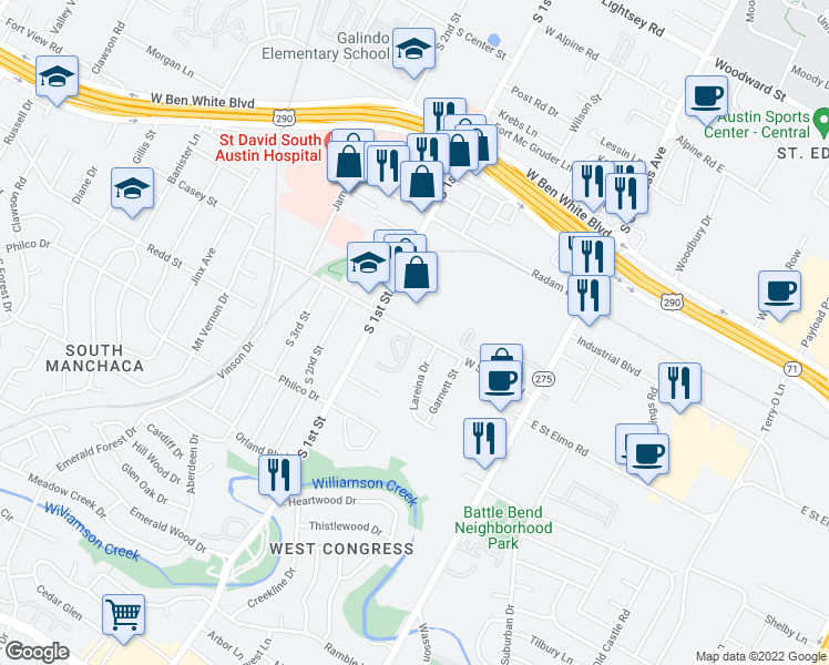 map of restaurants, bars, coffee shops, grocery stores, and more near W St Elmo Rd in Austin