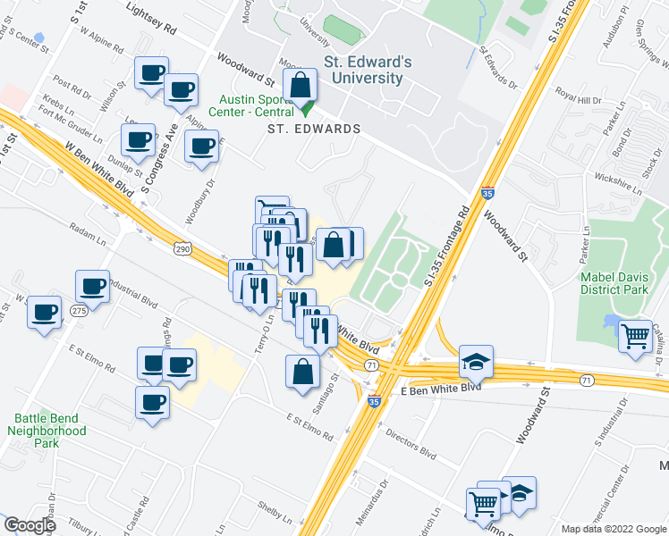 map of restaurants, bars, coffee shops, grocery stores, and more near 710 E Ben White Blvd in Austin