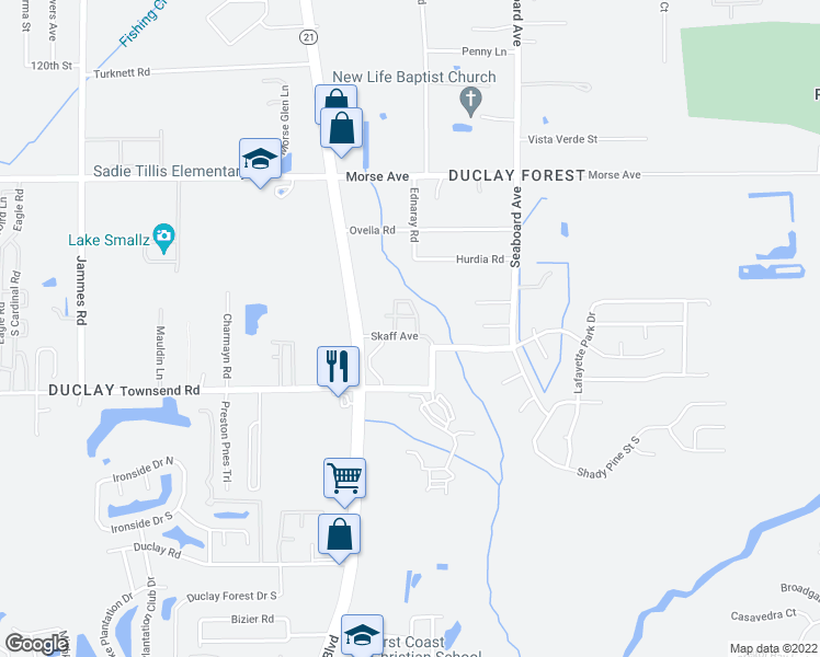map of restaurants, bars, coffee shops, grocery stores, and more near 6860 Skaff Ave in Jacksonville