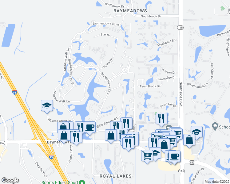 map of restaurants, bars, coffee shops, grocery stores, and more near 7915 Baymeadows Circle East in Jacksonville