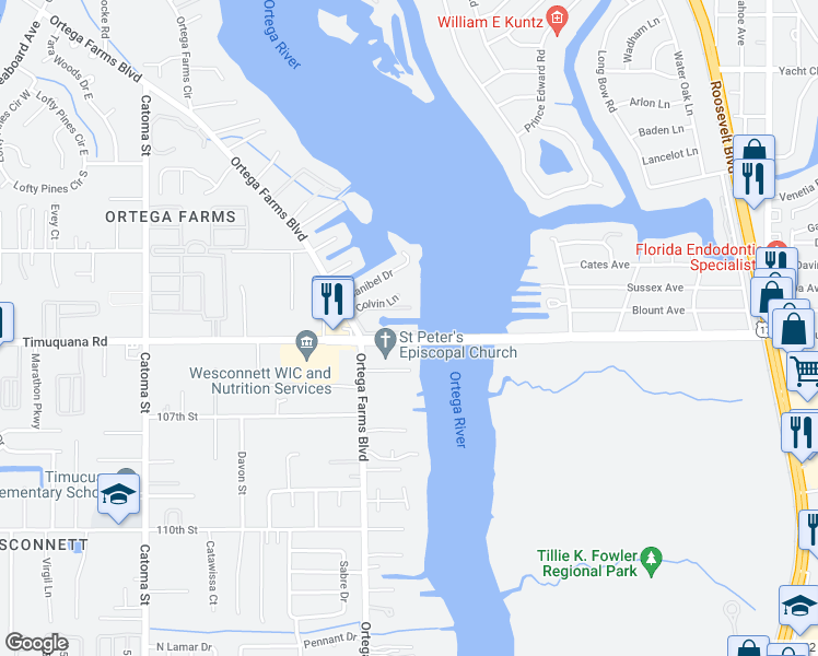 map of restaurants, bars, coffee shops, grocery stores, and more near 5041-5071 Timuquana Road in Jacksonville