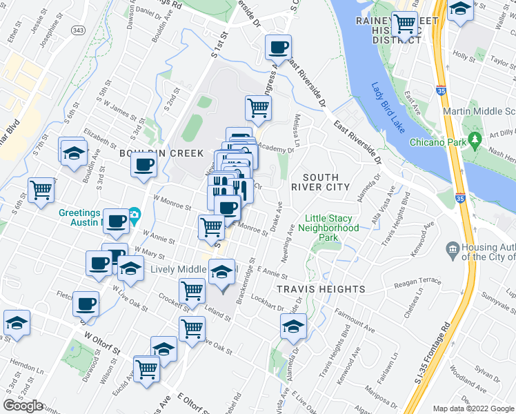 map of restaurants, bars, coffee shops, grocery stores, and more near 204 Elizabeth Street East in Austin