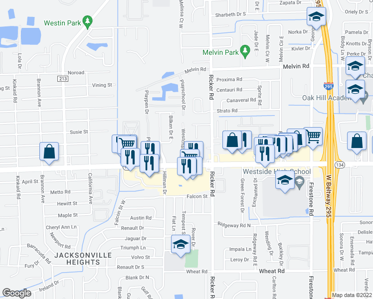 map of restaurants, bars, coffee shops, grocery stores, and more near 5243 Westchase Ct in Jacksonville