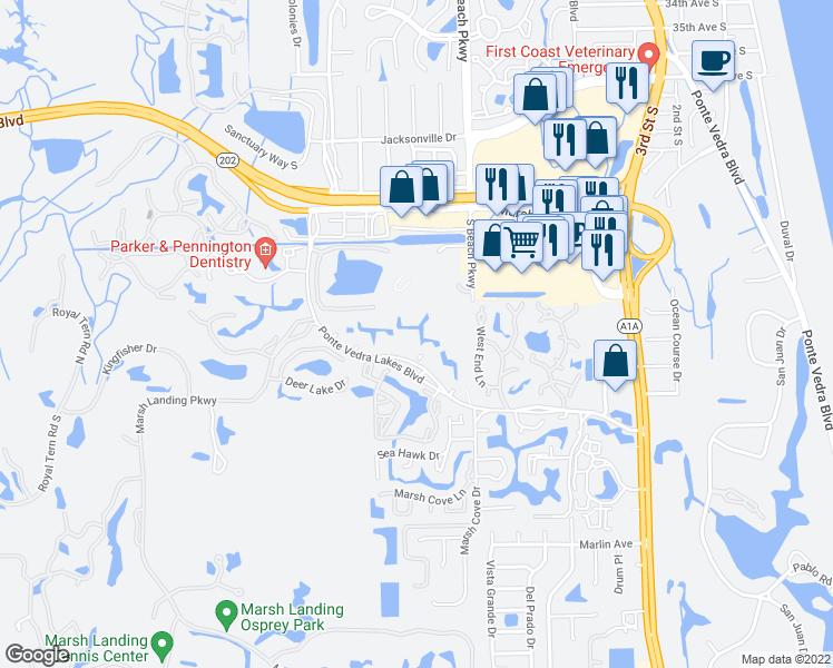 map of restaurants, bars, coffee shops, grocery stores, and more near 611 Ponte Vedra Lakes Blvd in Palm Valley