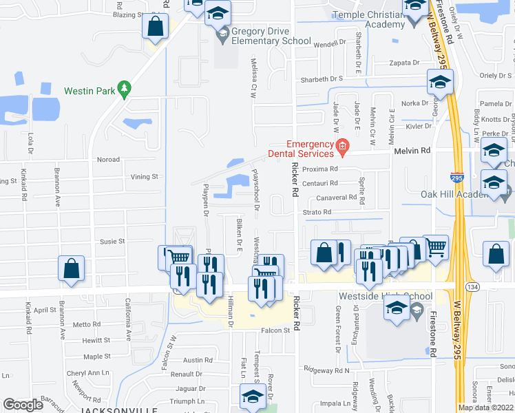 map of restaurants, bars, coffee shops, grocery stores, and more near 4813 Playschool Dr in Jacksonville