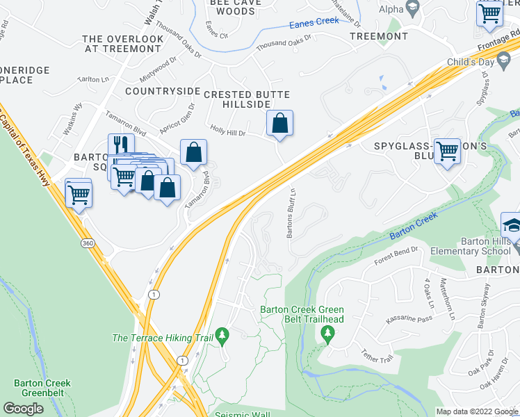 map of restaurants, bars, coffee shops, grocery stores, and more near 2543-2599 S Mopac Expy in Austin