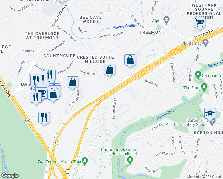 map of restaurants, bars, coffee shops, grocery stores, and more near 2301 S Mo Pac Expy in Austin