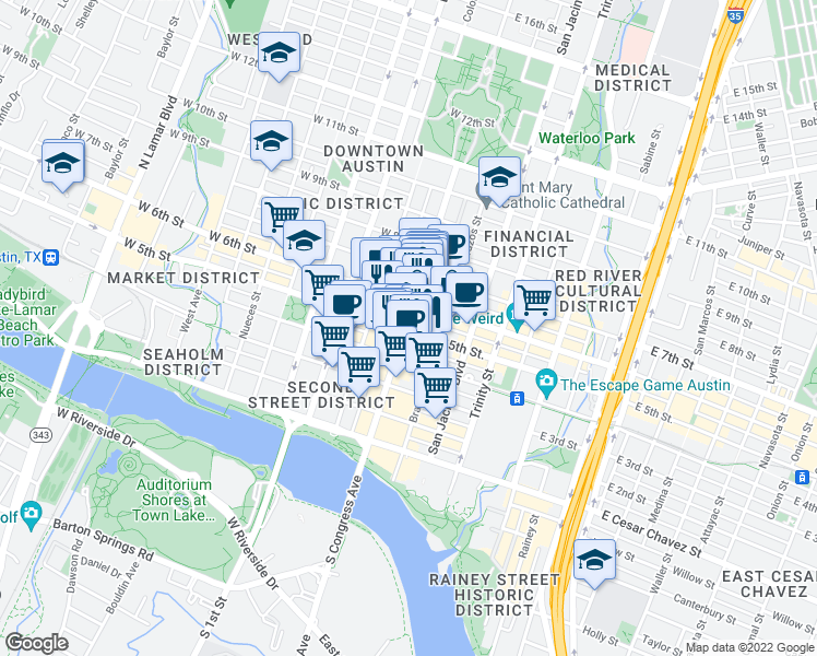 map of restaurants, bars, coffee shops, grocery stores, and more near 105 East 5th Street in Austin