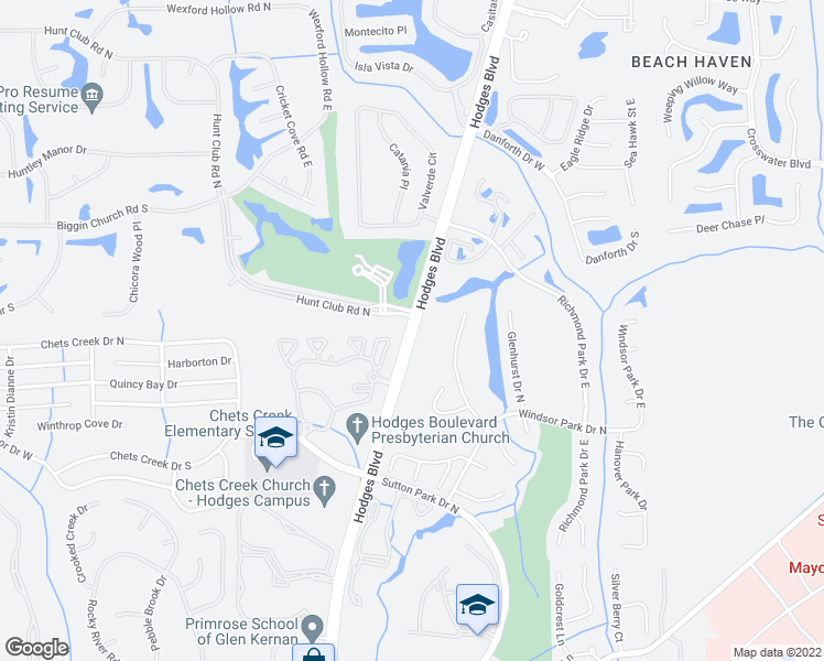 map of restaurants, bars, coffee shops, grocery stores, and more near 4000 Hodges Boulevard in Jacksonville