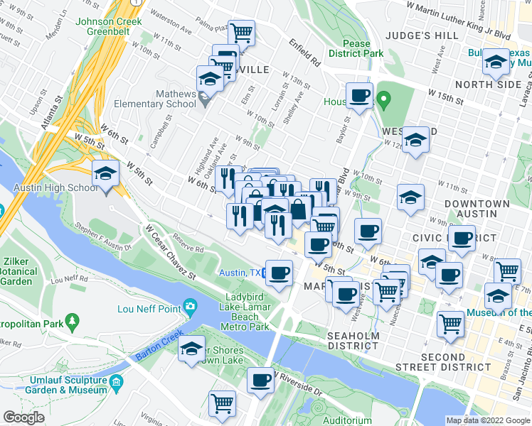 map of restaurants, bars, coffee shops, grocery stores, and more near West 6th Street in Austin