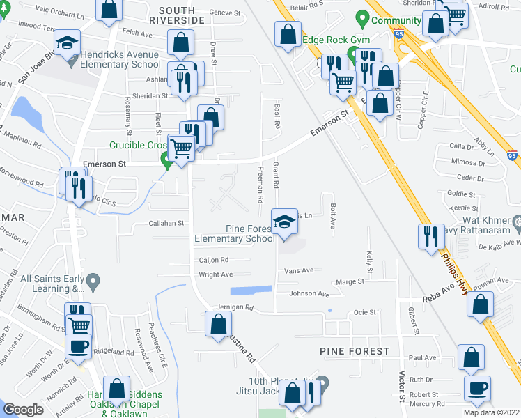 map of restaurants, bars, coffee shops, grocery stores, and more near 3856 Grant Road in Jacksonville