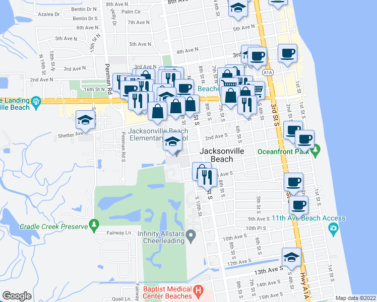 map of restaurants, bars, coffee shops, grocery stores, and more near 274 S 10th St in Jacksonville Beach