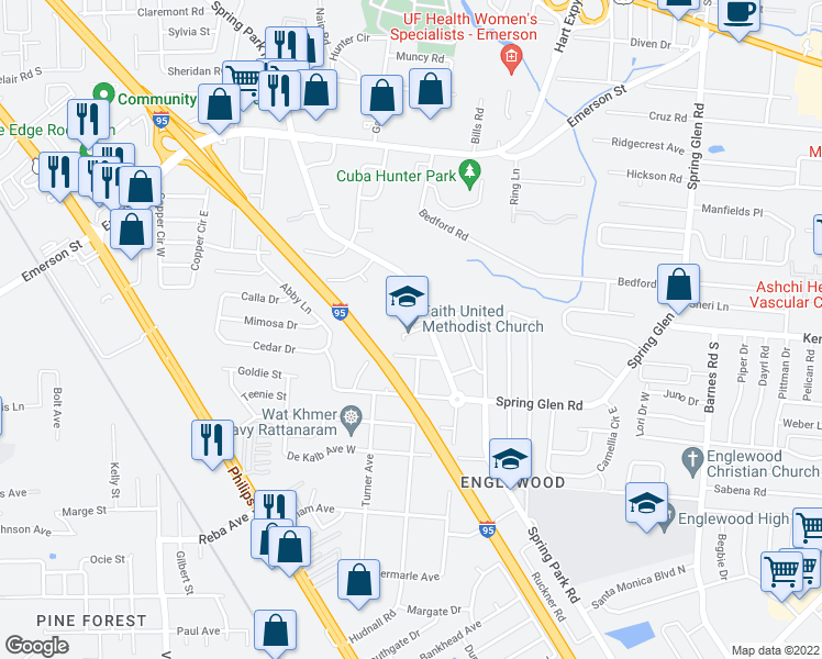 map of restaurants, bars, coffee shops, grocery stores, and more near 3954-3992 Spring Park Road in Jacksonville