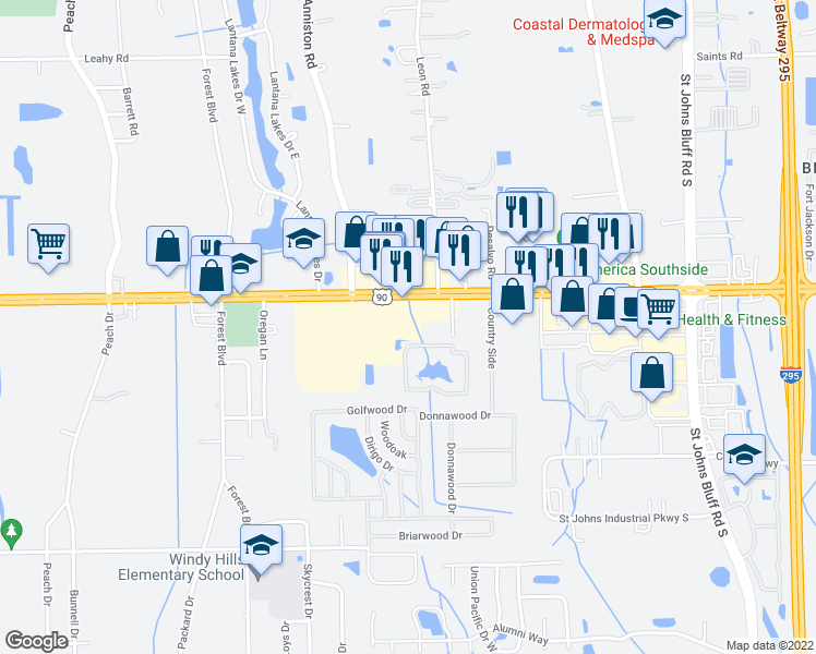 map of restaurants, bars, coffee shops, grocery stores, and more near 3425 Saland Way in Jacksonville