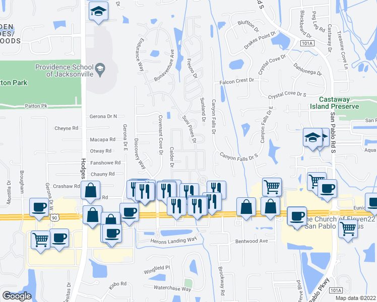map of restaurants, bars, coffee shops, grocery stores, and more near 13971 Bluegrass Drive in Jacksonville