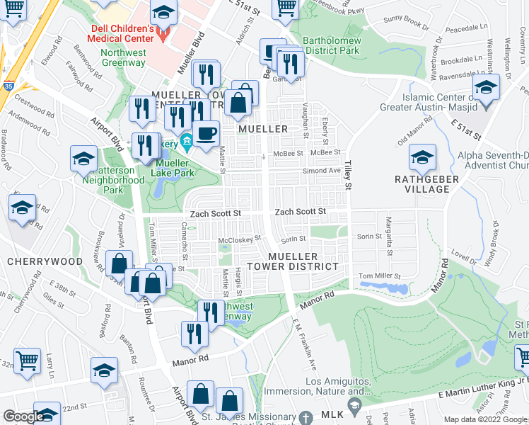map of restaurants, bars, coffee shops, grocery stores, and more near 4300 Berkman Dr in Austin